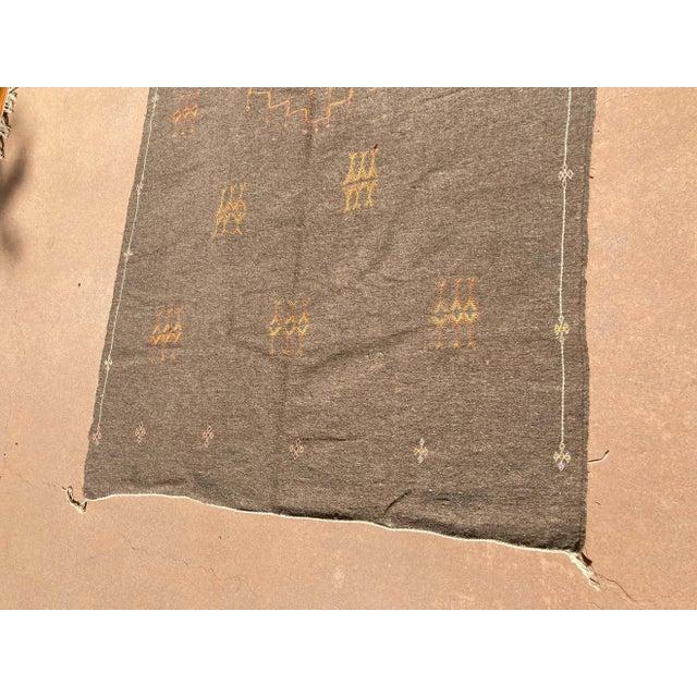 Moroccan Vintage Flat-Weave Brown Rug For Sale - Image 10 of 13