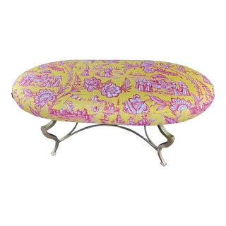 Late 20th Century Vintage Chinoiserie Oval Bench with Brass Finished Steel Base For Sale