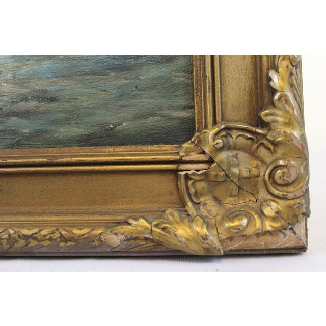 Gold Late 19th Century Oil on Board Seascape Painting For Sale - Image 8 of 11