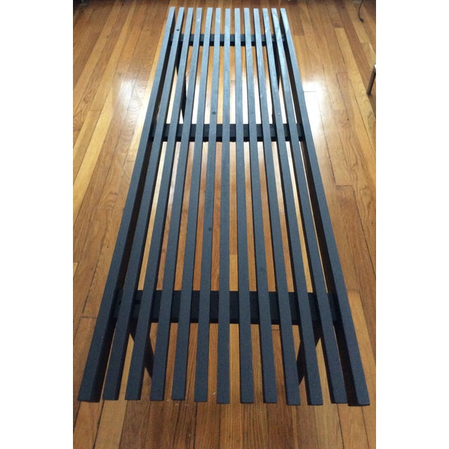 Mid-Century Modern Long Black Wooden Bench - Image 3 of 8