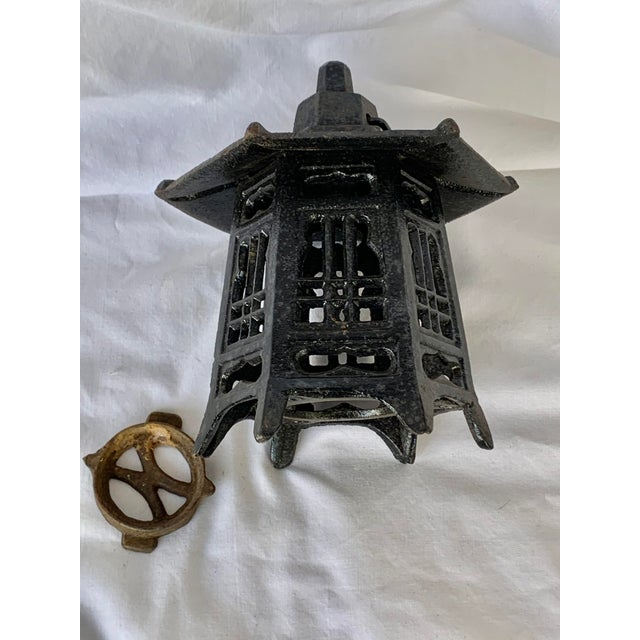 Vintage Cast Iron Pagoda Lantern For Sale In New Orleans - Image 6 of 9