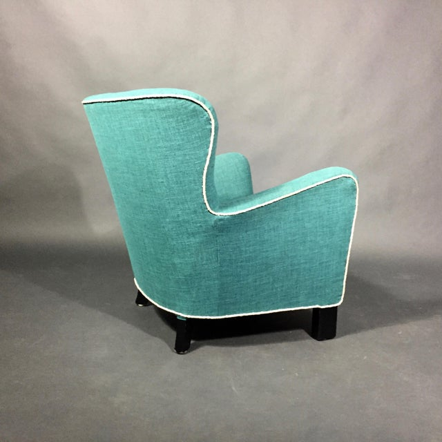 Late 1930s Danish Buttoned Armchair With Turquoise Upholstery For Sale - Image 4 of 10