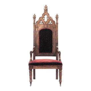 Gothic Revival Velvet Arm Chair For Sale