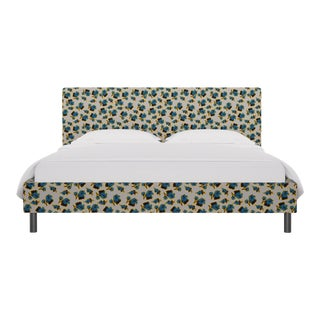 California King Tailored Platform Bed in Acid Floral For Sale