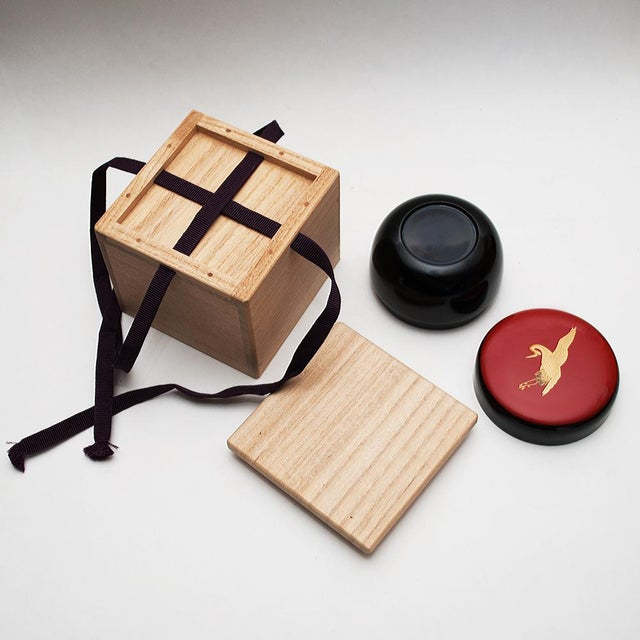 Black Japanese Lacquered Black Painted Wood Tea Caddy in a Wood Box For Sale - Image 8 of 13