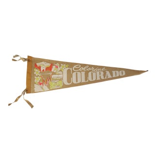 Vintage Colorful Colorado Gold Yellow Felt Pennant Flag