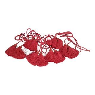 Red Velvet Scalamandre Silk Knitted Curtain Tassels - Set of 6 For Sale