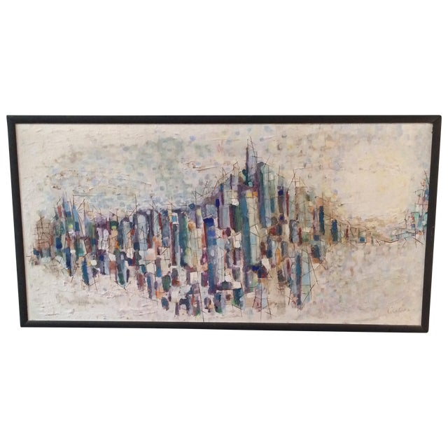 Mid-Century Abstract Cityscape Painting - Image 1 of 9