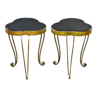 Gilded and Hammered Iron Italian Stools or Side Tables With Leather Tops - Pair For Sale