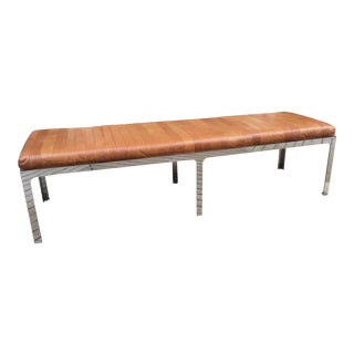 Brown Leather and Chrome Bench For Sale