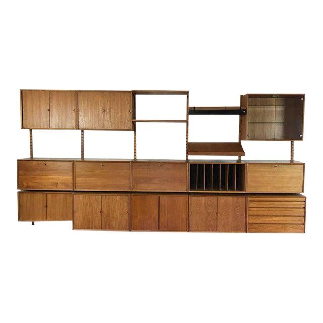"1960s Danish Poul Cadovius ""System Cado"" Teak Floating Modular Wall Shelf System For Sale"