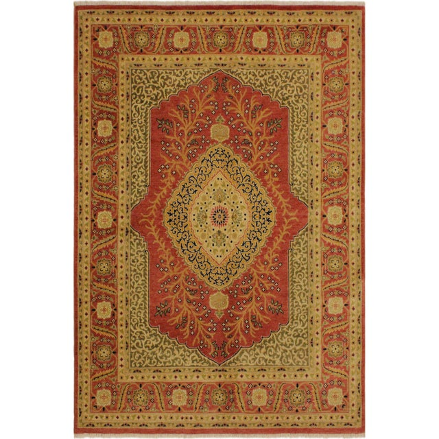 Pink Shabby Chic Istanbul Luke Rust/Gold Turkish Hand-Knotted Rug -4'10 X 5'11 For Sale - Image 8 of 8