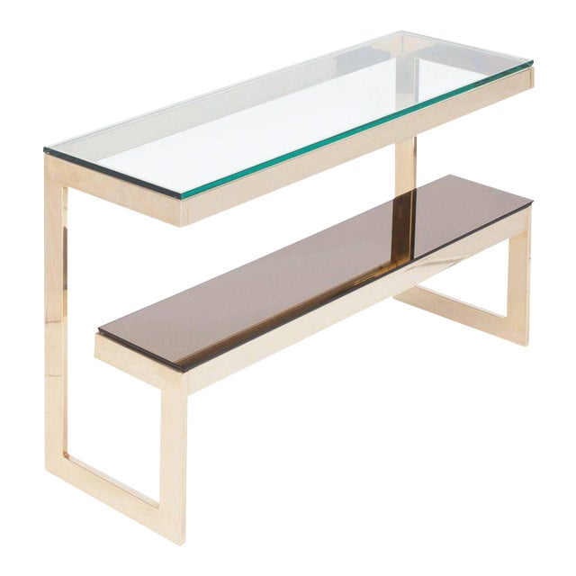 Gold Layered G Two-Tier Console Table For Sale