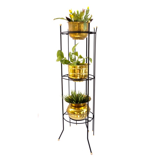 Abstract Mid-Century Atomic Era 3-Tier Metal Plant Stand ||Retro/Industrial Chic Black & Gold Tri-Level Vertical Tall Planter Stand || Sputnik Design For Sale - Image 3 of 11