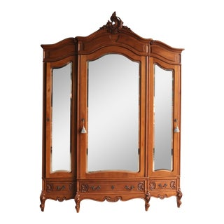 Antique French Rococo Triple Armoire For Sale