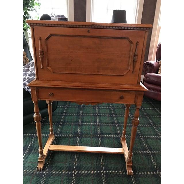 1900s Vintage Oak Secretarial Dropdown Desk For Sale - Image 5 of 6 - Vintage Oak Secretarial Dropdown Desk Chairish