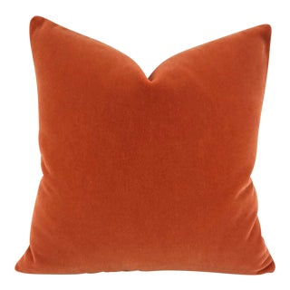 "Minimalist S. Harris Ankara Mohair Burnt Orange Velvet Pillow Cover - 20"" X 20"" For Sale"