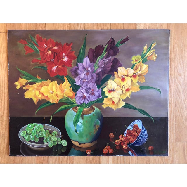 Still Life Gladiolus Flowers Oil Painting by Ed Monroe For Sale - Image 4 of 4