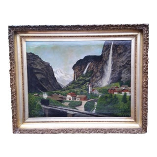 19th C. European Panoramic Original Oil Painting on Canvas in Gilt Frame For Sale