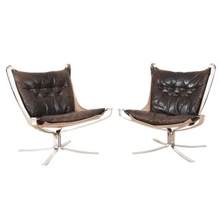 Pair of Brown Leather Falcon Chairs With Chrome Base For Sale