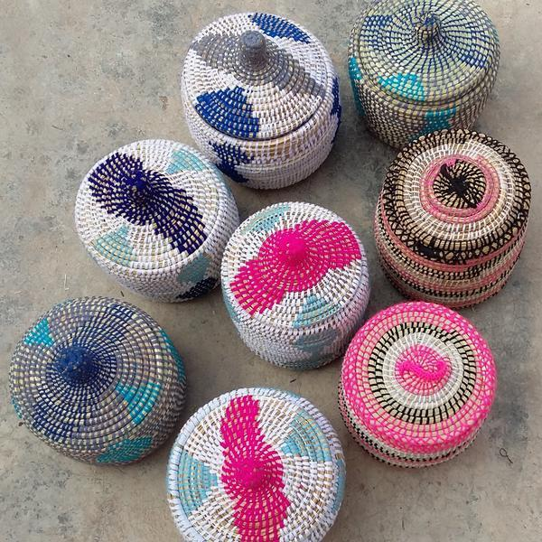 Moroccan Straw Woven Basket - Image 2 of 2