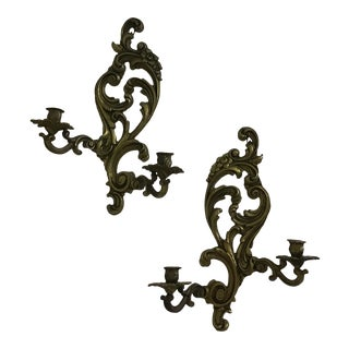 Louis XV Style Candlestick Sconces - a Pair For Sale