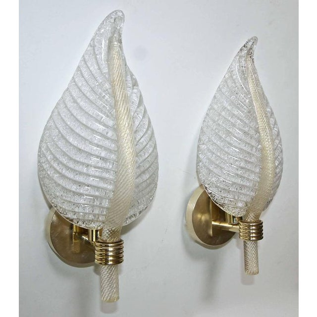 Brass 1950s Mid-Century Modern Barovier Murano Rugiadoso Leaf Wall Sconces - a Pair For Sale - Image 7 of 11