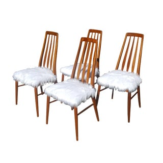 Koefoeds Hornslet Danish Teak & Faux Fur Dining Chairs - Set of 4