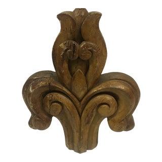 Antique 1900s Wood Carved Fleur De Lis For Sale