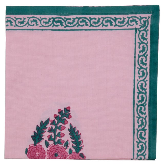 Contemporary Roza Napkins, Pink & Teal - A Pair For Sale - Image 3 of 4