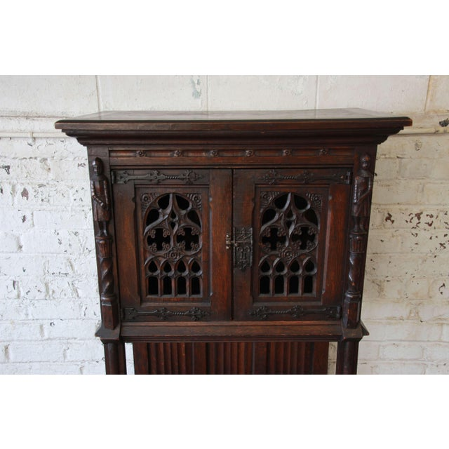 Antique Belgian Dark Oak Gothic Bar Cabinet, Circa 1850s For Sale - Image 4 of 11