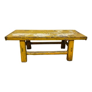 Distressed Yellow Lacquered Bench/Coffee Table For Sale