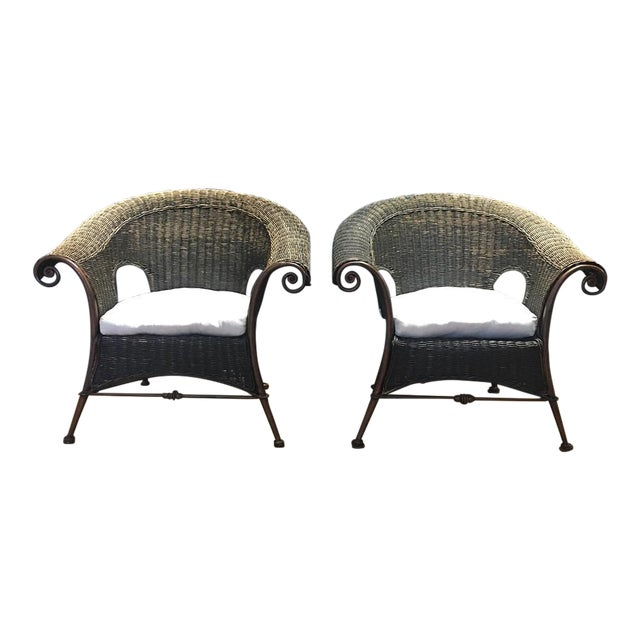 Wood & Iron Outdoor Armchairs W/ Seat Cushions - A Pair - Image 1 of 10