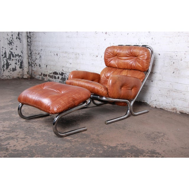 Milo Baughman for Directional Mid-Century Modern Lounge Chair and Ottoman, 1970s For Sale - Image 13 of 13