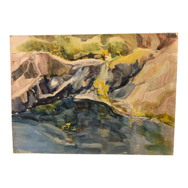 """Mid Century California Gold Country Landscape Watercolor Painting """"River Bank"""" For Sale"""