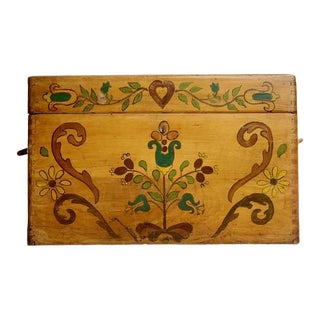 Small Hand Painted Folk Art Wooden Trunk For Sale