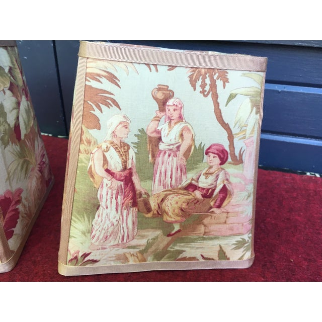 Traditional Newly Made Antique French Scene Fabric Lampshades - a Pair For Sale - Image 3 of 6