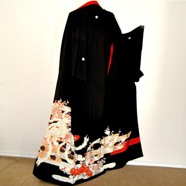Ho O Phoenix Kimono Japanese Kurotomesode Silk Yuzen 1930s