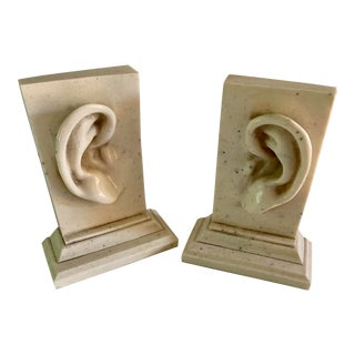 Pop Art Marble Ear Bookends - a Pair For Sale