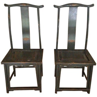 Pair of Chinese Yoke-Back Painted Wood Side Chairs For Sale