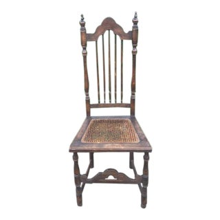 Vintage Early 20th Century Moroccan Wood and Cane Seat Chair For Sale