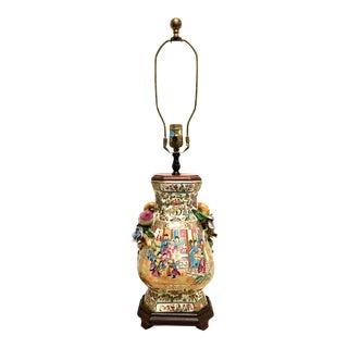Vintage Rose Medallion Table Lamp For Sale