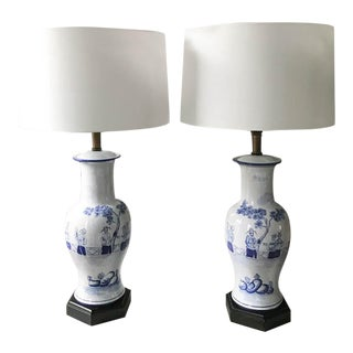 Pair, Old Blue and White Asian Lamps