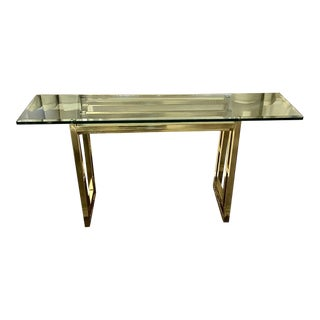 Mid-Century DIA Brass & Glass Console Table For Sale