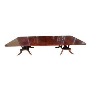 Henredon Furniture Aston Court Crotch Mahogany Formal Dining Table W/ Leaves For Sale