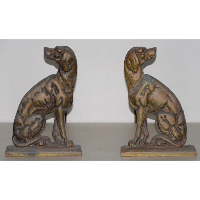 """19th Century Cast Iron """"Shorthaired Pointer"""" Andirons c.1880s Fantastic pair of antique cast and wrought iron andirons...."""
