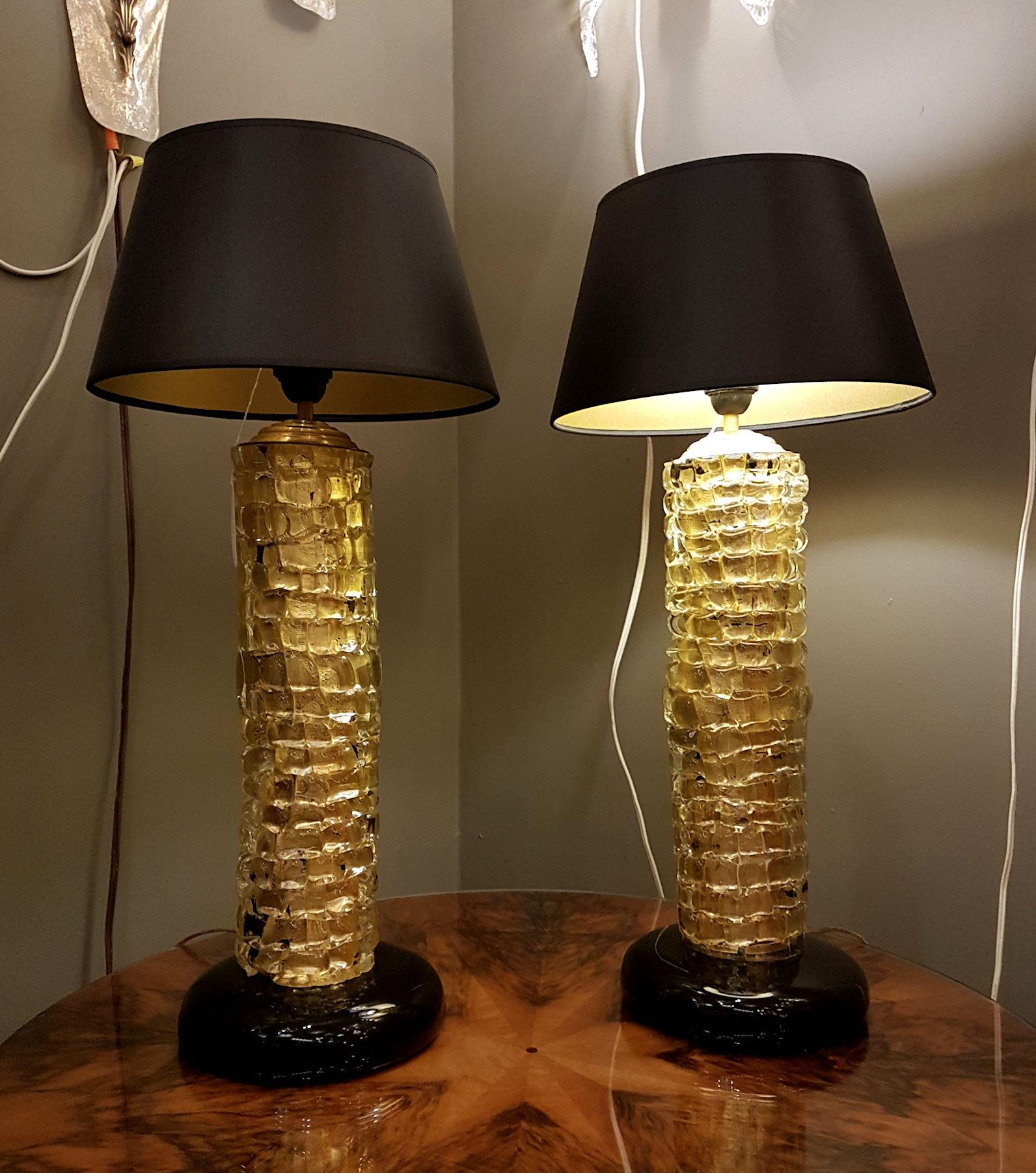 Exquisite Mid Century Modern Gold Thick Murano Glass Table Lamps A