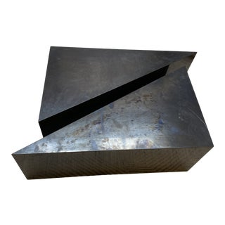 Contemporary Blackened Steel Wedge Coffee Tables - Set of 2 For Sale
