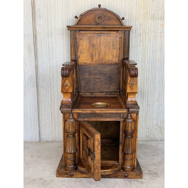 French Provincial 19th Century Spanish Carved Walnut Throne Armchair For Sale - Image 3 of 13