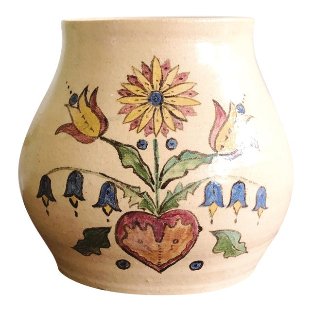 Vintage Scandinavian Hand-Painted and Hand-Thrown Ceramic Vase For Sale